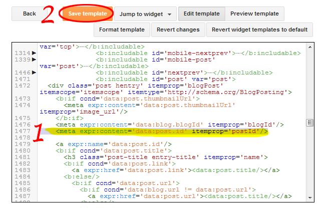 Blogger Post ID Meta - Html Editor